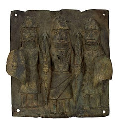"""King with Two Tribesmen Nigeria- Benin Tribe,"" a Bronze Relief Sculpture"