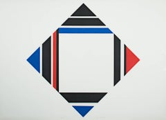 """Red/Blue/Black Diamond"" Silkscreen Print signed by Ilya Bolotowsky"