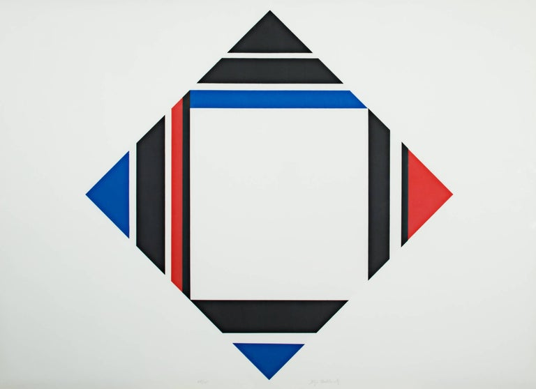 """""""Red/Blue/Black Diamond"""" is a signed silkscreen print by Ilya Bolotowsky. It is a geometric diamond with red, blue, and black lines going vertically and horizontally on a white ground.   25 3/4"""" x 35 7/8"""" art 26"""" x 36 1/4"""" framed  Ilya Bolotowsky"""