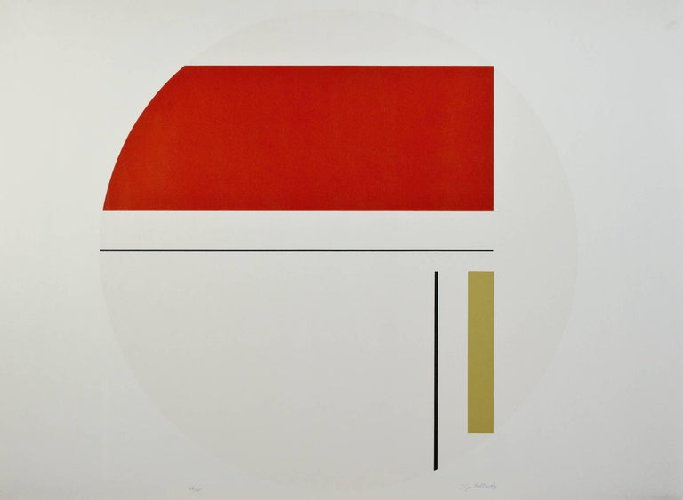 """Red & White Tondo"" is a signed silkscreen print by Ilya Bolotowsky. It is a geometric circle with red, yellow, and black lines of differing widths going vertically and horizontally on a white ground.   26"" x 36"" art 26 1/4"" x 36 1/4"" framed  Ilya"