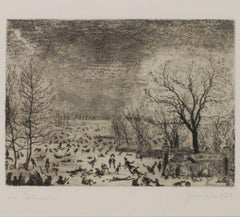 """Les Patineurs,"" Etching of a Winter Landscape signed by James Ensor"