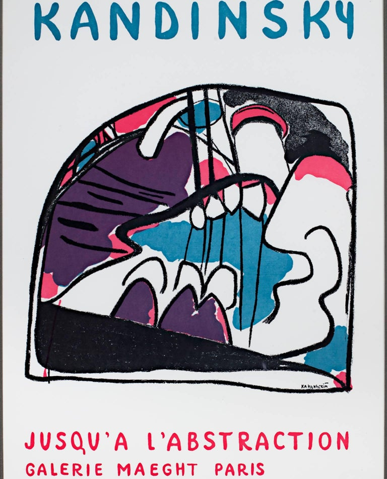 """""""Jusqu'a L'Abstraction"""" is a lithograph poster by Wassily Kandinsky. This poster depicts abstract forms in purple, pink, blue, and black and was created for the Maeght gallery in Paris. It was printed by the gallery c. 1948.  25 1/4"""" x 17 3/4"""""""
