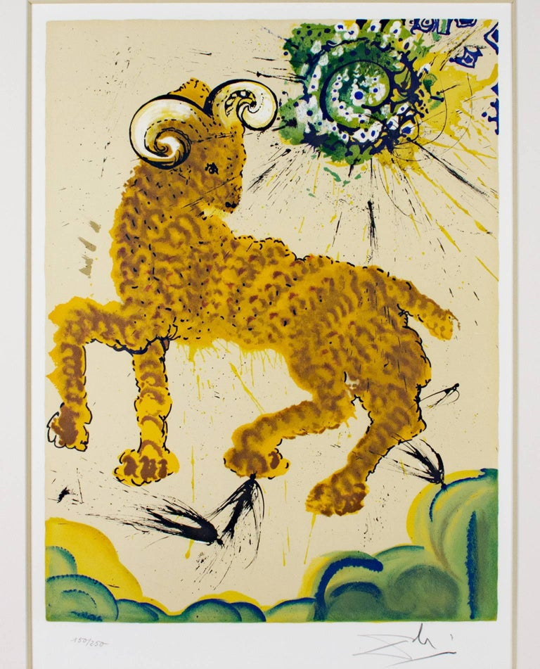 """Salvador Dalí Animal Print - """"Signs of the Zodiac Series: Aries,"""" Original Color Lithograph signed by Dali"""