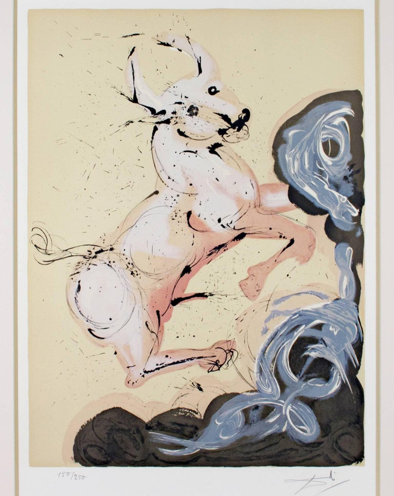 "Salvador Dalí Animal Print - ""Taurus"" from Signs of the Zodiac Series, Original Color Litho signed by Dali"
