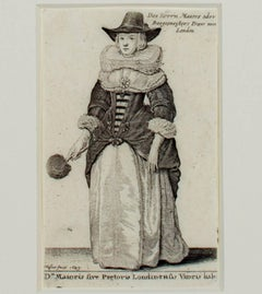"""""""Woman in a European National Dress,"""" an Engraving by Wenceslaus Hollar"""