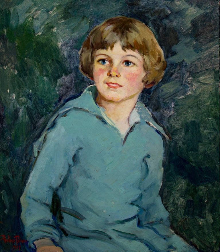 """""""Bright Eyes"""" is an original oil paint on canvas mounted on board by Pauline Palmer. It depicts a young child in blue with wide eyes smiling in front of a dark green background.   23 1/2"""" x 19 1/2"""" art 24 3/4"""" x 23"""" framed  Still arguably the"""