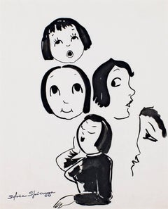 """""""Five Faces #736,"""" a Black Ink Drawing signed by Sylvia Spicuzza"""