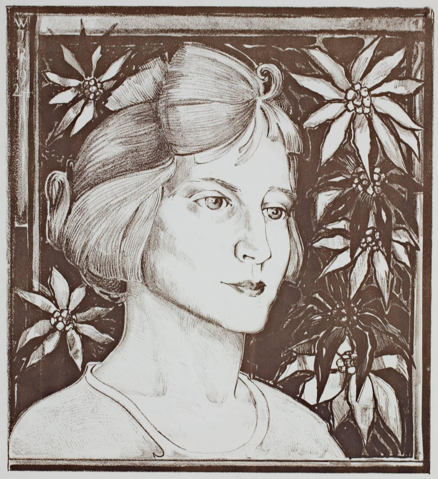 """""""Girl With Flowers,"""" Lithograph signed by an unknown artist (WJR)"""
