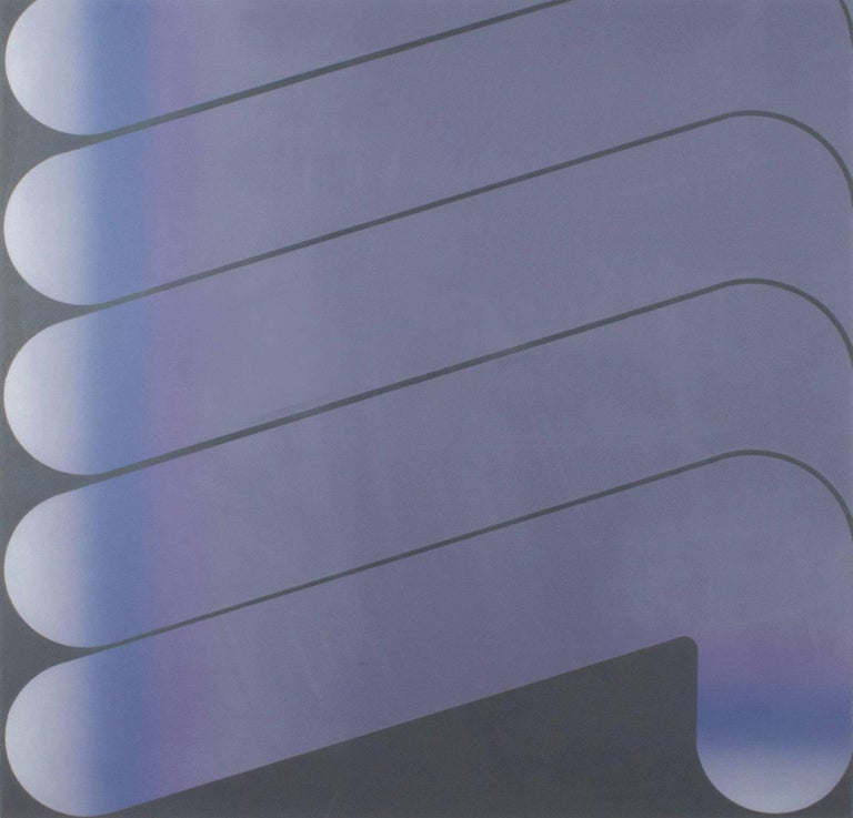 """""""Untitled 1970 C.P. #235"""" is an original lithograph with blended ink signed by the artist Garo Zareh Antreasian. It is edition 10/60 and depicts a repetition of abstract geometric shapes in purple and blue.   24"""" x 24"""" art 30 1/2"""" x 30 1/2"""""""
