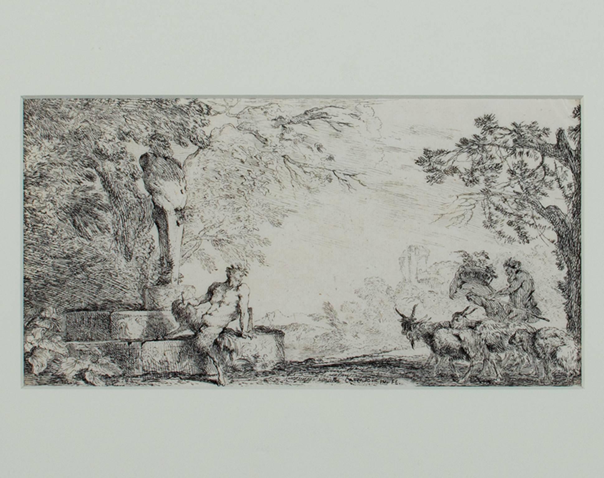 """Mythological Scene-Satyr & GoatHerder""an Original Etching signed by Castiglione"