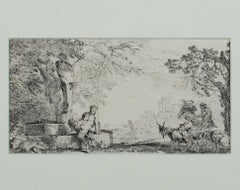 """Mythological Scene-Satyr & GoatHerder""an Original Etching signed by Castiglione"