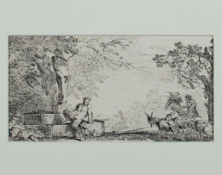 "Giovanni Benedetto Castiglione Figurative Print - ""Mythological Scene-Satyr & GoatHerder""an Original Etching signed by Castiglione"