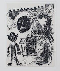 """""""Black Moon M293,"""" an Original Black & White Lithograph by Marc Chagall"""