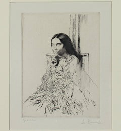"""La Mere de Whistler,"" an Etching and Drypoint signed by Auguste Brouet"