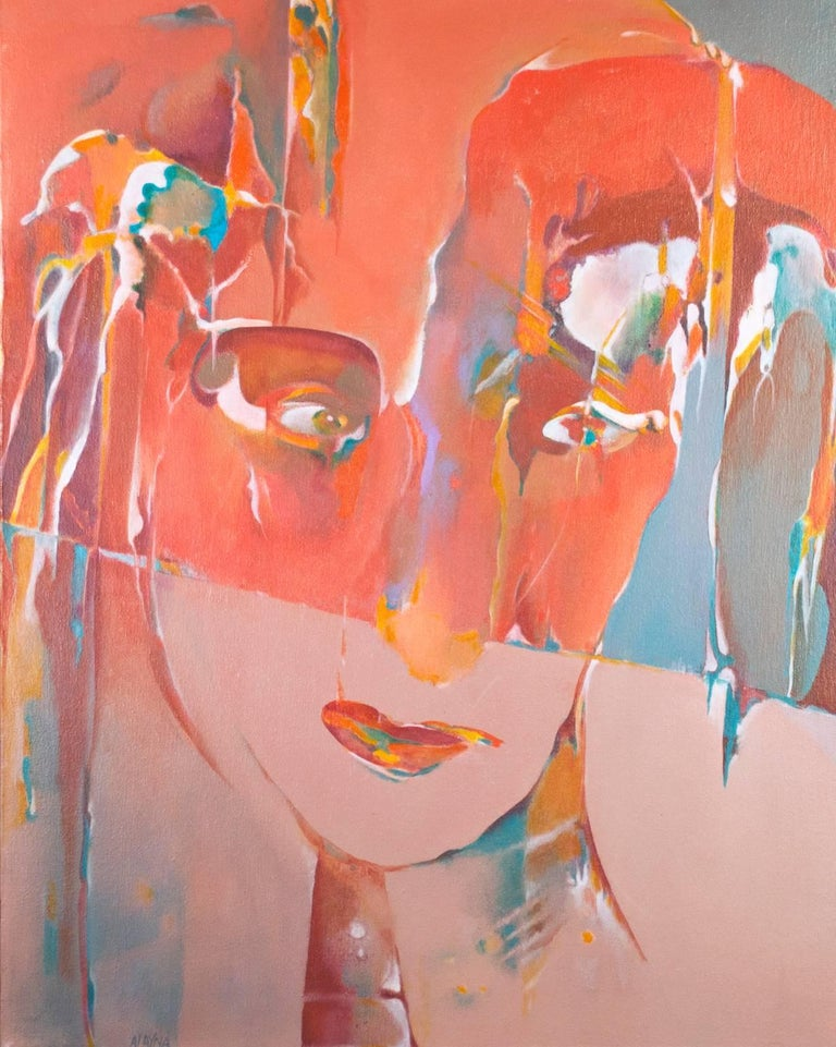 """""""Princess Diana"""" is an oil painting on canvas by Alayna Rose, signed lower left. It is an abstracted portrait tribute to Princess Diana in pink, orange, and blue.   28"""" x 21 3/4"""" art 29 3/4"""" x 23 3/4"""" frame  In addition to this original oil"""