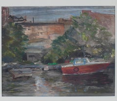 """""""Milwaukee River, Third Ward,"""" a Gesso Print signed by Peggy Leonard"""