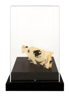 """""""Cow,"""" a Paper Cutout & Ink Drawing Sculpture by Schomer Lichtner"""