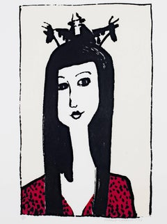 """""""Cow Crown,"""" a Color Lithograph signed by Schomer Lichtner"""