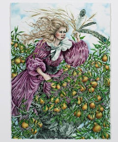 """Changing Woman (Picking Pears),"" Mixed Media signed by Karin Krohne Kaufman"