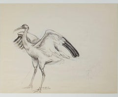 """Crane Sketch for 'The Gift'"" a Sepia on Paper signed by Karin Krohne Kaufman"