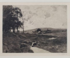 """""""Walking the Land,"""" an Etching signed by William Langson Lathrop"""