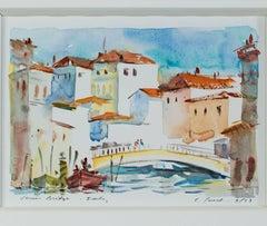 """Venice Bridge - Italy,"" a Watercolor signed by Craig Lueck"