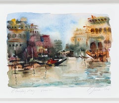 """Cloudy Day - Venice,"" a Watercolor signed by Craig Lueck"