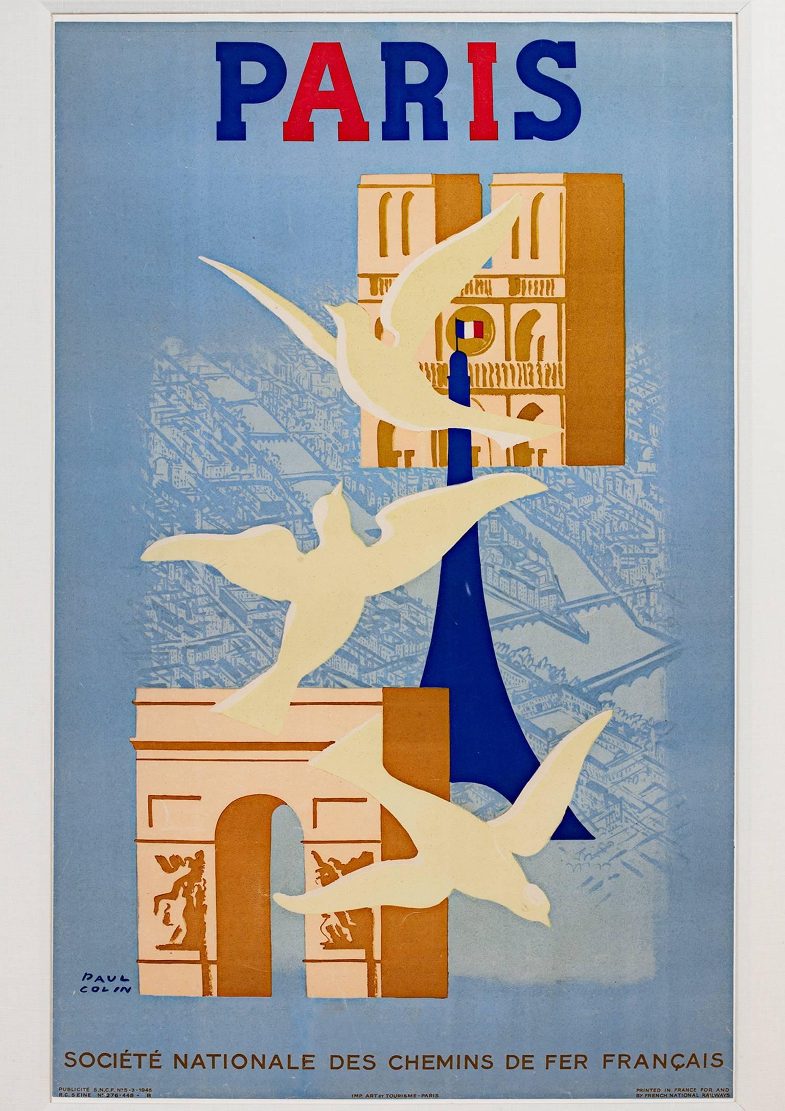 """Paris,"" Original Lithograph Poster with Paris Landmarks signed by Paul Colin"