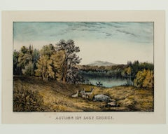 """Autumn on Lake George (Deer),"" an Original Lithograph by Currier & Ives"