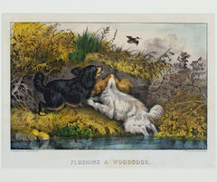 """Flushing a Woodcock,"" an Original Lithograph by Currier & Ives"