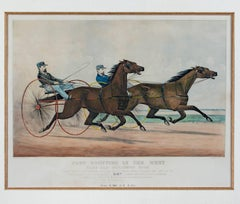 """Fast Trotting in the West (Milwaukee Race),"" an Original Lithograph"