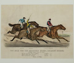 """The Race for the American Derby (Belmont Stakes),"" an Original Lithograph"