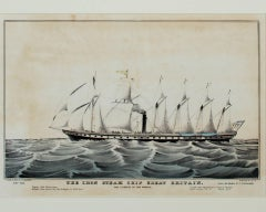 """Iron Steam Ship Great Britain,"" an Original Lithograph by Nathaniel Currier"