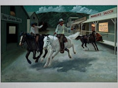 """""""Saloon,"""" am Oil on Board signed by Charles Damrow"""