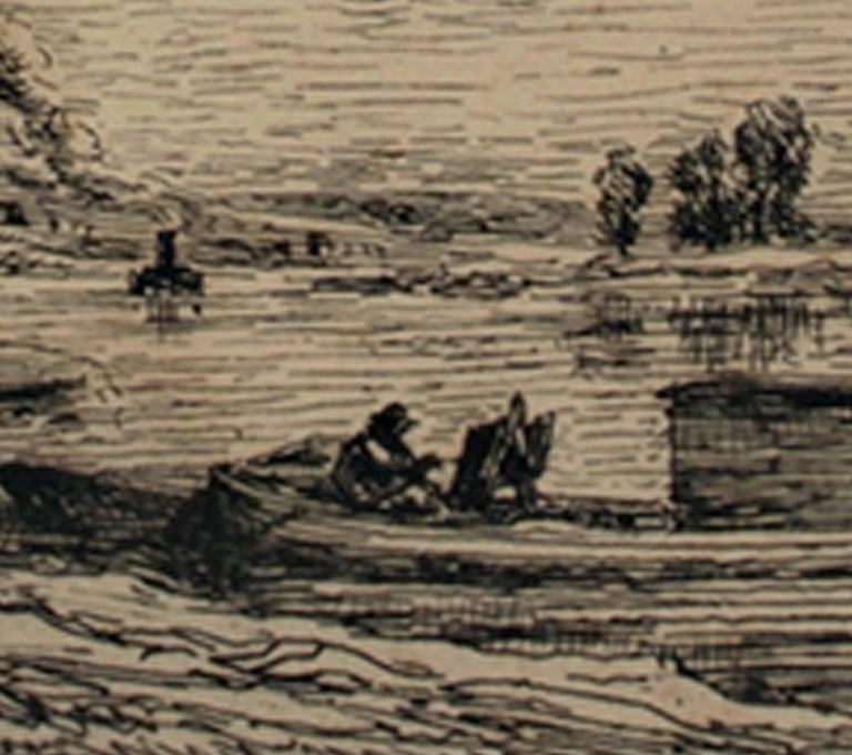 Le Bateau a Conflans/Le Paysagiste au Bateau - Barbizon School Print by Charles François Daubigny