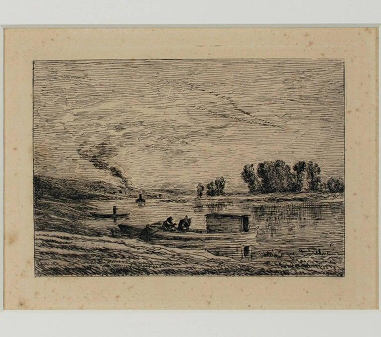 Charles François Daubigny Landscape Print - Le Bateau a Conflans/Le Paysagiste au Bateau