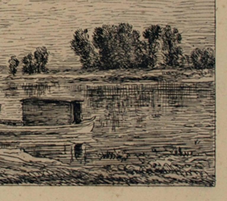 Le Bateau a Conflans/Le Paysagiste au Bateau - Brown Landscape Print by Charles François Daubigny