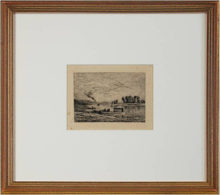 Le Bateau a Conflans/Le Paysagiste au Bateau - Print by Charles François Daubigny