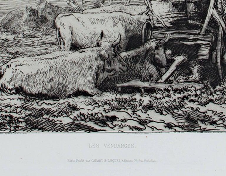 Les Vendanges (L.D. 117 III/V) - Gray Landscape Print by Charles François Daubigny