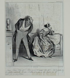 """De Quoi! De Quoi! Votre Dot?,"" an Original Lithograph by Honoré Daumier"
