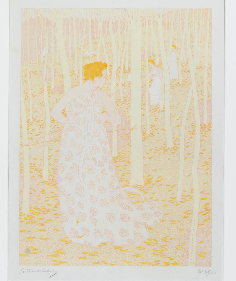 "Gaston de Latenay Landscape Print - ""Diane Chasseresse,"" Original Color Lithograph signed by Gaston De Latenay"
