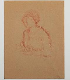 """""""Buste de Jeune Femme,"""" a Conte Crayon Drawing by Georges D'Espagnat"""