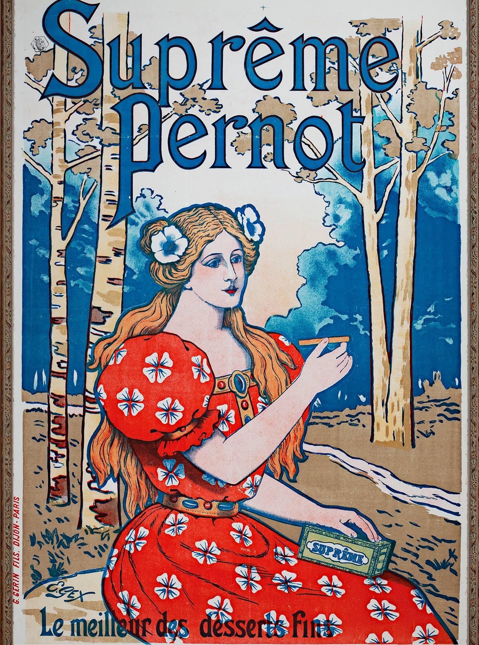 """Supreme Pernot,"" Original Color Lithograph Poster by E. Gex"