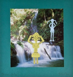 """""""Posing at Scooter Falls,"""" a Mixed Media signed by Scooter Glithorthian"""