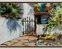 """Red Patio, Arizona,"" a Watercolor signed by F. Douglas Greenbowe"