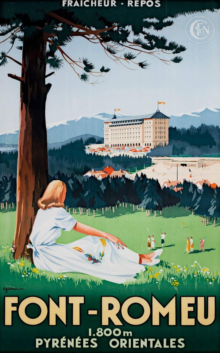 """""""Font-Romeu (Tennis/Golfing Retreat)"""" is an original color lithograph poster by the designer Vincent Guerra. He signed the design in the lower left. This poster depicts a woman relaxing under a tree watching people in the distance play golf. The"""