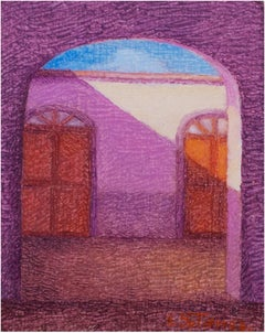 """""""Patio in Peru,"""" an Oil on Canvas signed by Ernesto Gutierrez"""