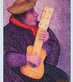"""El Guitarista,"" an Oil on Jute signed by Ernesto Gutierrez"