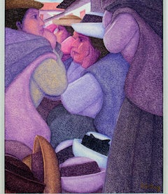 """Feria de Sombreros (The Hat Market),"" an Oil signed by Ernesto Gutierrez"