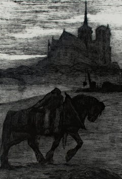 """Horse and Rider at Dusk,"" an Original Lithograph by Paul Jouve"